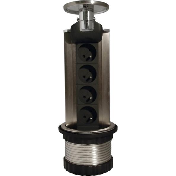 HBF výsuvná zásuvková lišta so 4 zásuvkami 230V a LED podsvietením, 1,5m kábel